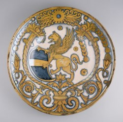 WALTERS: Venetian: Dish with Coat of Arms of Bishop Baglioni 1488