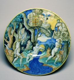 WALTERS: Workshop of Guido Durantino (Italian, active 1520-1576): Plate with Apollo and Daphne 1535