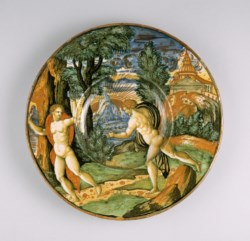 WALTERS: Venetian: Plate with Apollo and Daphne 1540