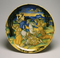 WALTERS: Baldassare Manara (Italian, active ca. 1526-1547): Dish with Lion Hunt 1508