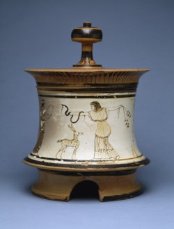 WALTERS: Sotheby Painter (Greek, active ca. 480 BC-ca. 450 BC): White-Ground Pyxis with Maenads -472
