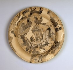 WALTERS: Gorgon Painter (Greek, active ca. 600-580 BC): Attic Black-Figure Plate with Gorgon's Head and Bands of Animals -612