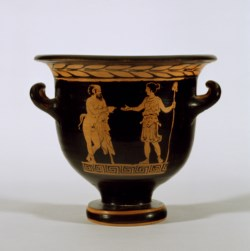 WALTERS: Circle of the Tarporley Painter (Greek, active ca. 405-370 BC): Red-Figure Bell Krater with Satyr and Maenad -392
