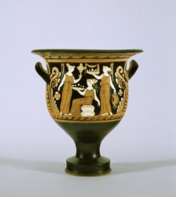 WALTERS: Apulianizing Painter (Greek, active ca. 330-320 BC): Red-Figure Bell Krater with Three Women and Three Youths -342