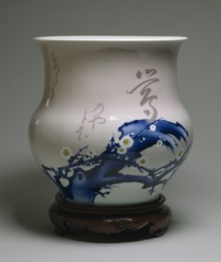 WALTERS: Miyagawa Kozan (Japanese, 1842-1916): Vase with Blossoming Plum and Short Poem 1892