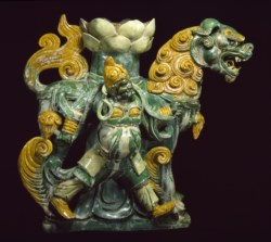 WALTERS: Chinese: Lion Pedestal with Attendant 1501