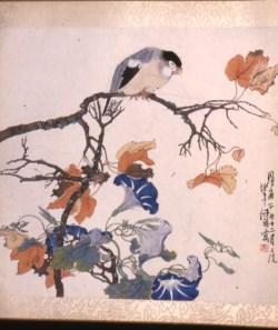 WALTERS: Ren Bonian (Chinese, 1840-1896): Bird on Maple Branch with Morning Glories 1860