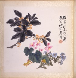 WALTERS: Zhou Xian (1820-1875): Three Autumn Plants: Osmanthus, Begonia, and Chrysanthemum 1860