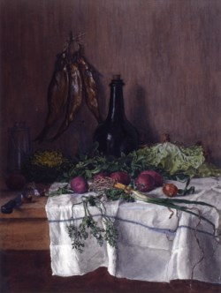 WALTERS: Léon Bonvin (French, 1834-1866): Still Life: Vegetables, Fish, and Radishes 1864