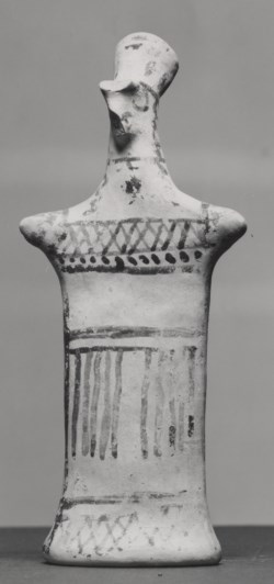 WALTERS: Greek: Figurine with Pinched Face and Goemetric Decorations -700