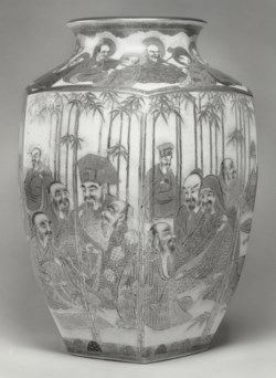 WALTERS: Hododa Company (Japanese): Vase with Arahats and Sages in a Bamboo Grove 1878