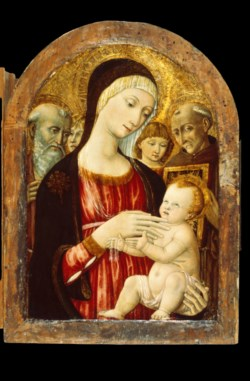 WALTERS: Matteo di Giovanni (Italian, ca. 1430-1495): Madonna and Child with Saints and Angels 1458