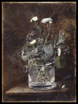 WALTERS: Léon Bonvin (French, 1834-1866): Still Life: Daisies and Violets 1834