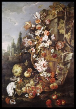 WALTERS: Franz Werner von Tamm (German, 1658-1724) (?): Still Life of Flowers and Fruits in a Garden 1700
