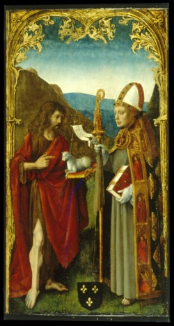 WALTERS: Attributed to the Master of the Virgo inter Virgines (North Netherlandish, active ca. 1483-1498): Saint John the Baptist and a Bishop Saint 1480