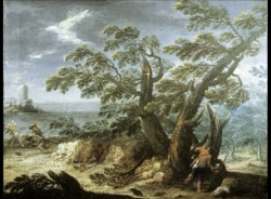 WALTERS: Venetian: Landscape with Figures in a Storm 1720