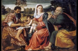 WALTERS: Attributed to Polidoro da Lanciano (Italian, ca. 1515-1565): Madonna and Child with Saints Mark and Peter 1535
