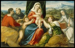 WALTERS: Bonifazio de' Pitati (Italian, 1487-1553): Madonna and Child with Saints 1540