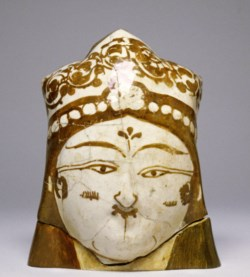 WALTERS: Iranian: Fritware Female Head with Floral Head Covering 1101