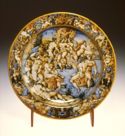 WALTERS: Venetian: Dish with Diana and Her Nymphs Bathing 1548