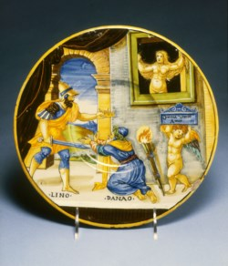 WALTERS: Francesco Xanto Avelli (Italian, ca. 1487-ca. 1542): Plate with Hypermnestra Watching Lynceus Take Her Father's Crown 1537