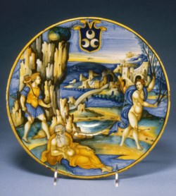 WALTERS: Milan Marsyas Painter (Italian, active 1525-1535): Bowl with Apollo and Daphne 1505