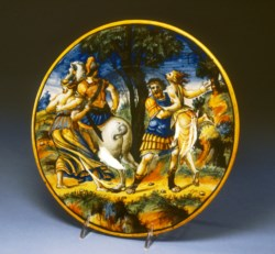 WALTERS: Venetian: Dish with Castor and Pollux Rescuing Helen 1535