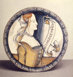 WALTERS: Venetian: Dish with Female Bust and Inscription 1488