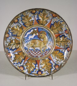 WALTERS: Workshop of Giorgio Andreoli (Italian, ca. 1465/1470-1555): Dish with the Lamb of God 1518