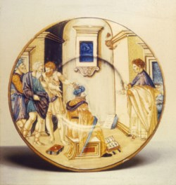 WALTERS: Francesco Xanto Avelli (Italian, ca. 1487-ca. 1542): Plate with the School of Xenocrates 1533