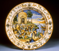 WALTERS: Workshop of Fontana family (Italian, active 16th-17th century): Dish with the Abduction of Helen 1553