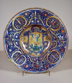 WALTERS: Workshop of Giorgio Andreoli (Italian, ca. 1465/1470-1555): Bowl with Coat of Arms 1528
