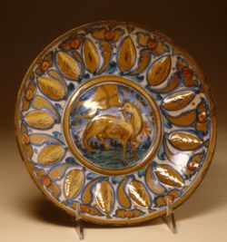 WALTERS: Workshop of Giorgio Andreoli (Italian, ca. 1465/1470-1555): Dish with Lamb of God 1518