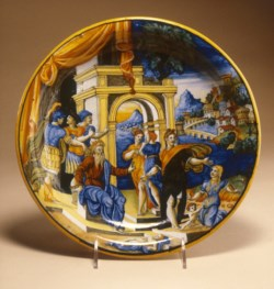 WALTERS: Workshop of Guido di Merlino (Italian, active 1540-1549): Dish with the Judgment of Solomon 1528