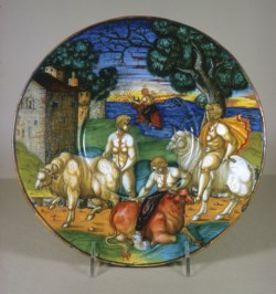 WALTERS: Giulio da Urbino (Italian, active 1533-1569): Plate with the Abduction of Europa 1533