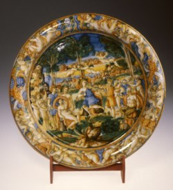 WALTERS: Workshop of Andrea da Negroponte (Italian, active mid 16th century): Dish with the Contest of Apollo and Marsyas 1535