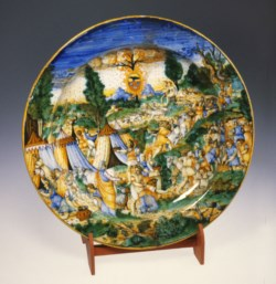 WALTERS: Workshop of Andrea da Negroponte (Italian, active mid 16th century): Plate with the Gathering of Manna 1538
