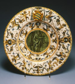 WALTERS: Workshop of the Patanazzi family (Italian, active 16th-17th centuries): Broad-Rimmed Dish with Saint Paul 1563