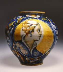 WALTERS: Workshop of Domenico da Venezia (Italian, active 1550-ca.1568): Apothecary Jar with Two Female Busts 1548
