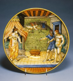 WALTERS: Venetian: Dish with King Candaules Exhibiting His Wife Nyssia to Gyges 1528