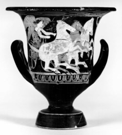 WALTERS: Greek: Calyx-Krater with Driver, Chariot, and Three Horses -375