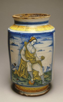 "WALTERS: Venetian: ""Albarello"" with a Shepherdess Lifting Her Skirt 1488"