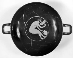 WALTERS: Paidikos (Greek, active ca. 530-500 BC): Kylix Depicting Men Bending Drinking from Kylix -522