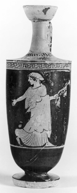 WALTERS: Aischines Painter (Greek, active ca. 475-ca. 450 BC) (?): Shoulder Lekythos with Woman and Floral Spray -482