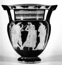 WALTERS: Painter of Munich 2335 (Greek, active ca. 450 BC-420 BC) (?): Column-Krater with a Komos and Three Maenads -452