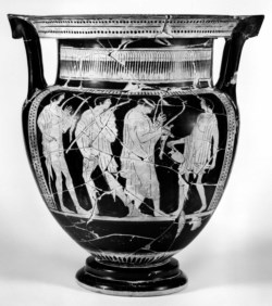 WALTERS: Agrigento Painter (Greek, active ca. 475-ca. 450 BC) (?): Column-Krater with Komos -482