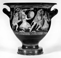 WALTERS: Walters-Dresden Painter (Greek, active early 4th century BC) (?): Bell-Krater with Satyrs and Maenads and Three Draped Men -402