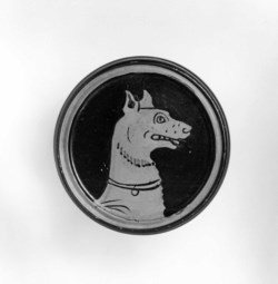 WALTERS: Greek: Pyxis with Bust of a Dog -400
