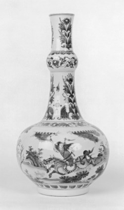 WALTERS: Chinese: Blue and White Bottle with Scenes from a Novel of a Type Exported to Holland 1635