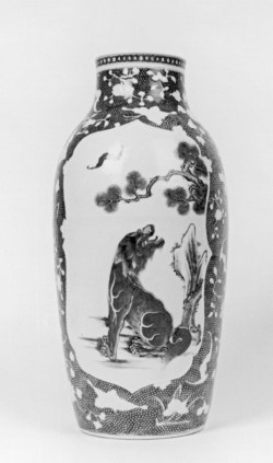 WALTERS: Chinese: Vase with Lions and Bats in Panels 1740